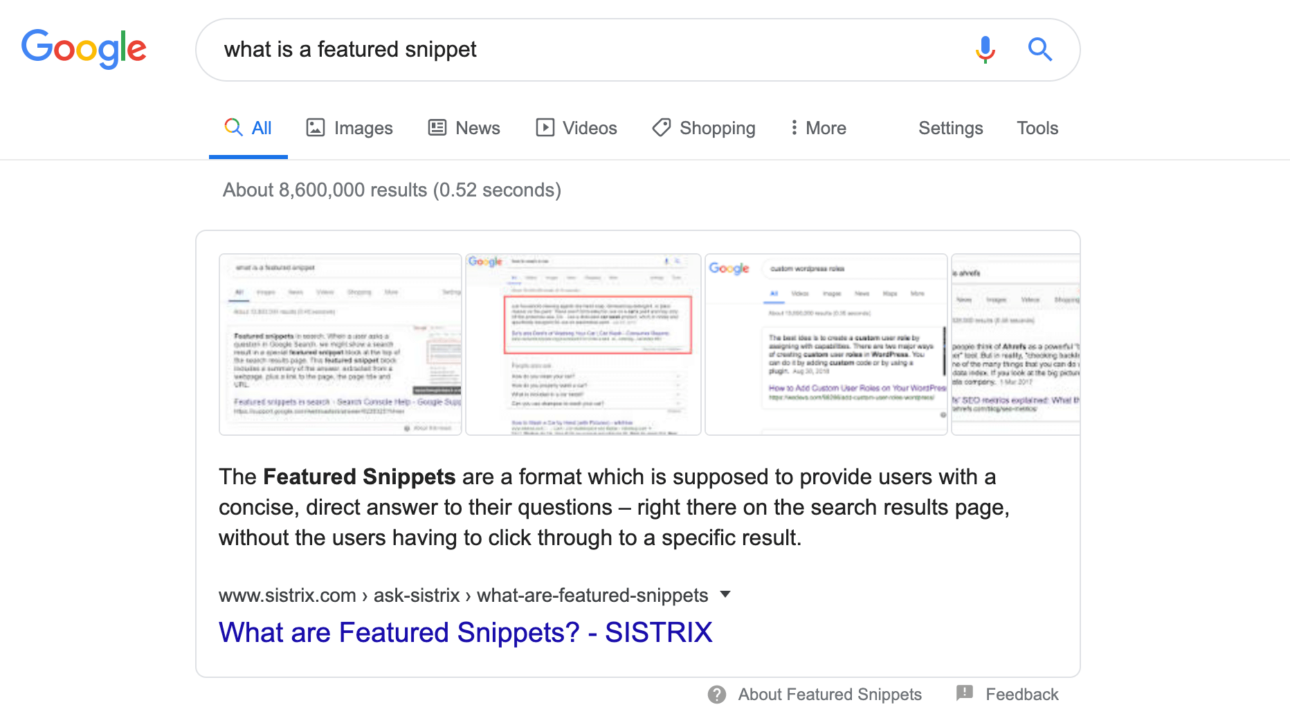 what is a featured snippet