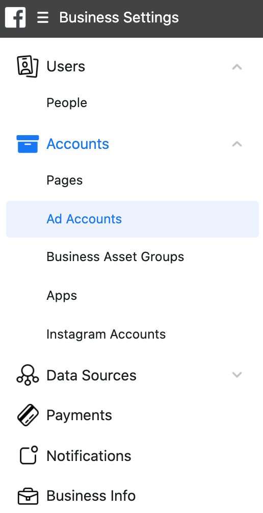 Business Settings-Ad Accounts