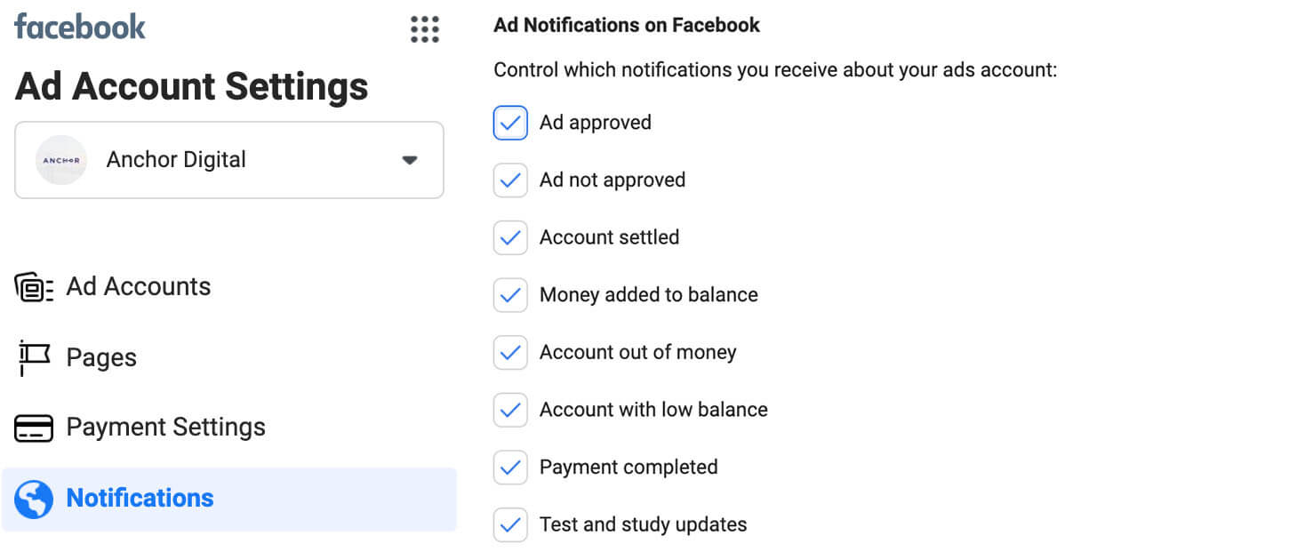 facebook ad account settings