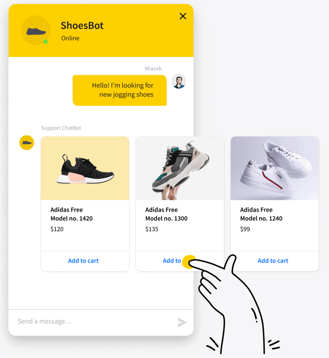 shoesBot live chat